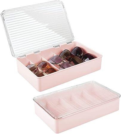 mDesign Juego de 2 cajas para gafas de sol – Clasificador de plástico con 5 compartimentos – Organizador de armarios para guardar todo tipo de gafas – rosa claro y transparente: Amazon.es: Hogar