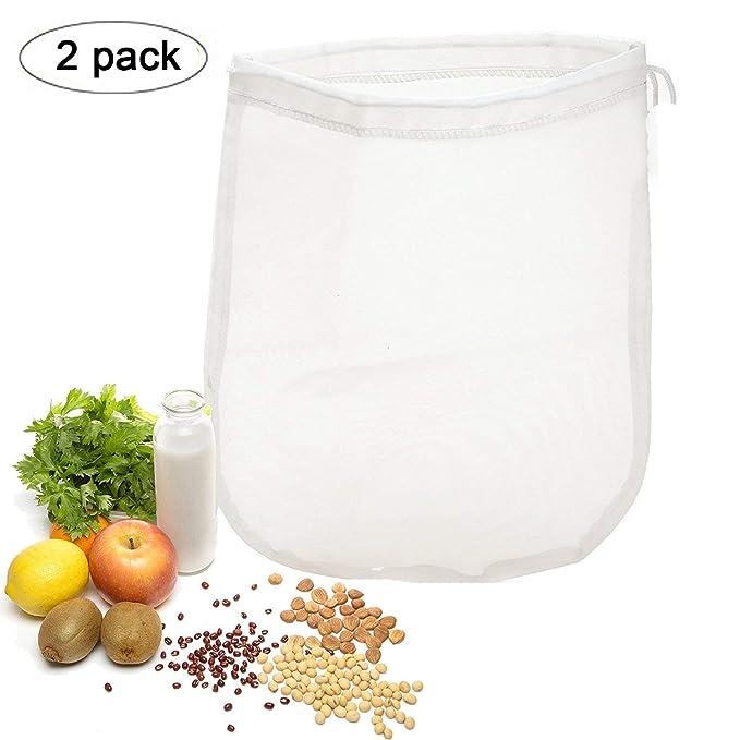 OldPAPA 150μm Nut milk bag, bolsa para hacer leches vegetales,bolsa para hacer queso, zumos (Paquete de 2) vegetales100% Nylon Perfecto como colador: ...