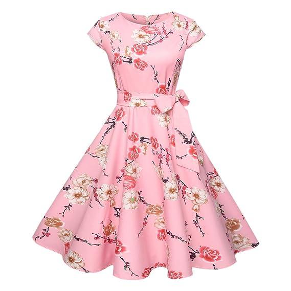 YTJH Mujer Vestido Vintage Estampado Floral Verano Vestido Elegante de Trapecio 1950s Rockabilly Manga Corta con Cinturón para Fiesta, S - 2XL: Amazon.es: ...