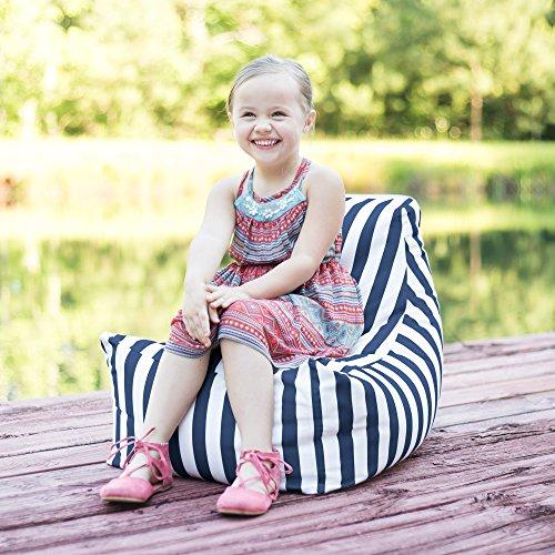 Jaxx Juniper Jr Outdoor Kids Bean Bag Chair/Childrens Garden Chair, Navy Stripes (Atlanta Store Furniture Outdoor Best)