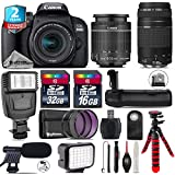 Canon EOS Rebel 800D / T7i Camera + 18-55mm IS STM Lens + EF 75 300mm F 4 5.6 III + Battery Grip + Shotgun Microphone + LED Kit + 2yr Extended Warranty + 32GB Class 10 - International Version