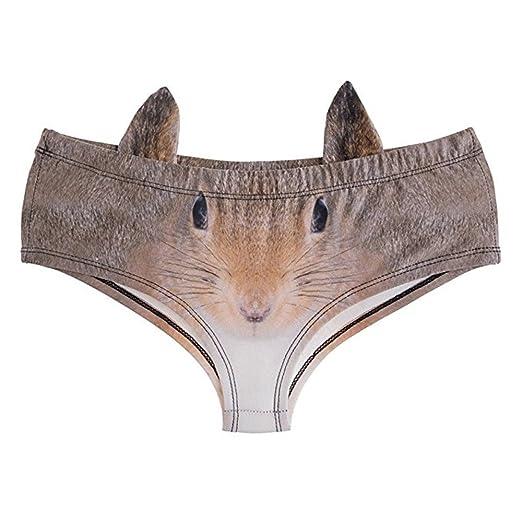 c08b653f8e10 Niu Niu Women's Brief Panties Cute 3D Animal Prints Briefs with Ears  (Squirrel,M