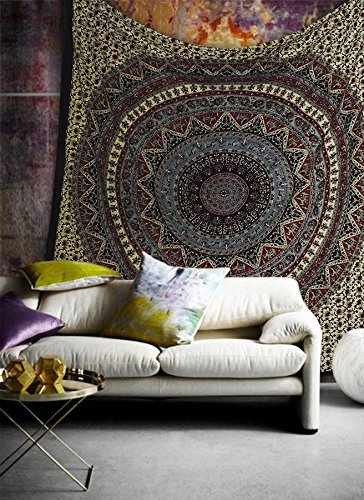Popular Handicrafts Hippie Mandala Bohemian Psychedelic Intricate Floral Design Indian Bedspread Magical Thinking Tapestry 84×90 Inches,(215x230cms) L…