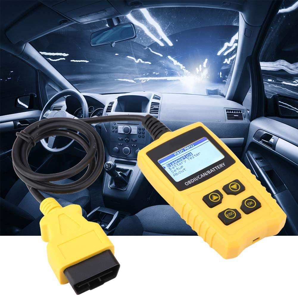 320 240 dpi Akozon Auto Scan Tool OBD Car Code Reader Battery Tester Diagnostic Scanner Tool 2.4 inch TFT color display