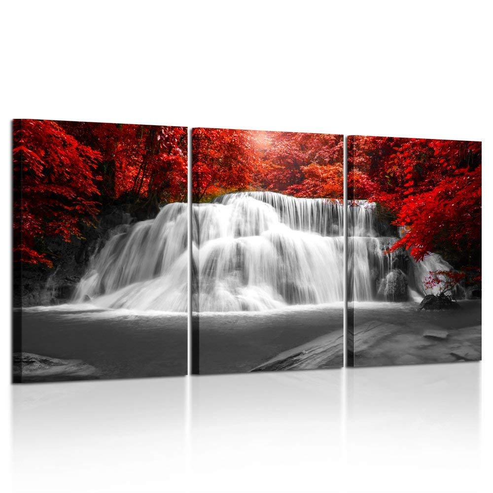 Kreative Arts Black White and Red Canvas Wall Art 3 Pieces Red Woods Waterfall Canvas Print Landscape Paintings Framed Picture for Office and Home Décor Ready to Hang 16x24inchx3pcs by Kreative Arts