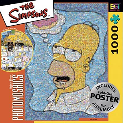 Simpsons Photomosaic Homer with Donut Jigsaw Puzzle 1000pc