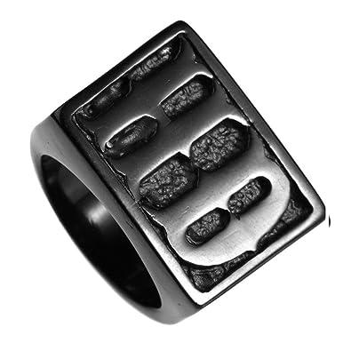 Unaphyo Jewelry Men S Stainless Steel Letters Hd Motor Biker Ring