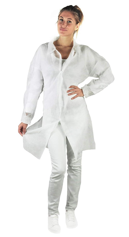 camice laboratorio in TNT taglie M-L-XL-XXL colore bianco chiusura velcro elastico ai polsi tasca interna L Dentalseven