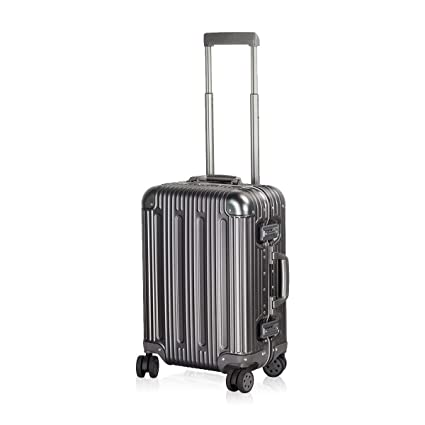 Travelking Aluminum Luggage Carry On Spinner Hard Shell Suitcase Lightweight Metal Suitcases (Grey, 20 Inch) by Travel King