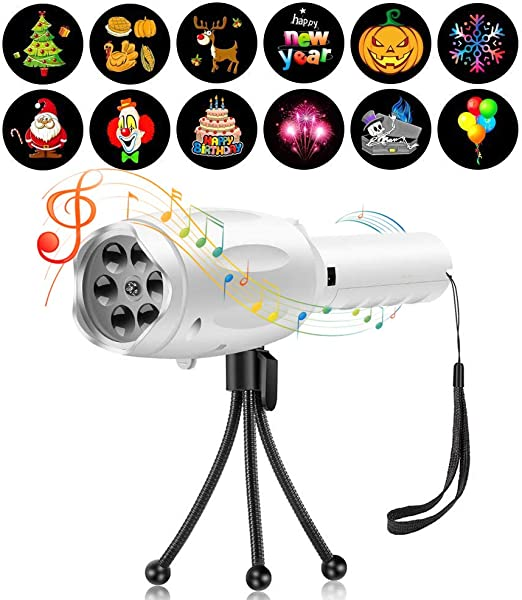 DesignerBox Music Party Light with 12 Pattern Slides /& Tripod Holiday LED Projector Light Handheld Music Projector Flashlight Lamp Christmas Halloween Birthday Party Gift for Kids