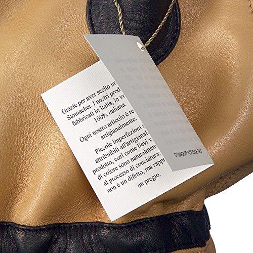 Stomacher - Borsa donna in vera pelle di agnello bicolore perlata 100% italiana