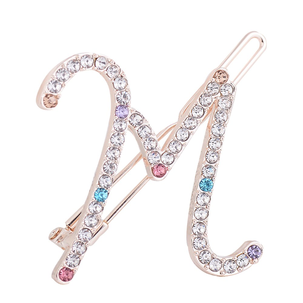 MUZHE Coloful Swash Letter Hairpin Creative Wedding Banquet Party Jewelry (M)