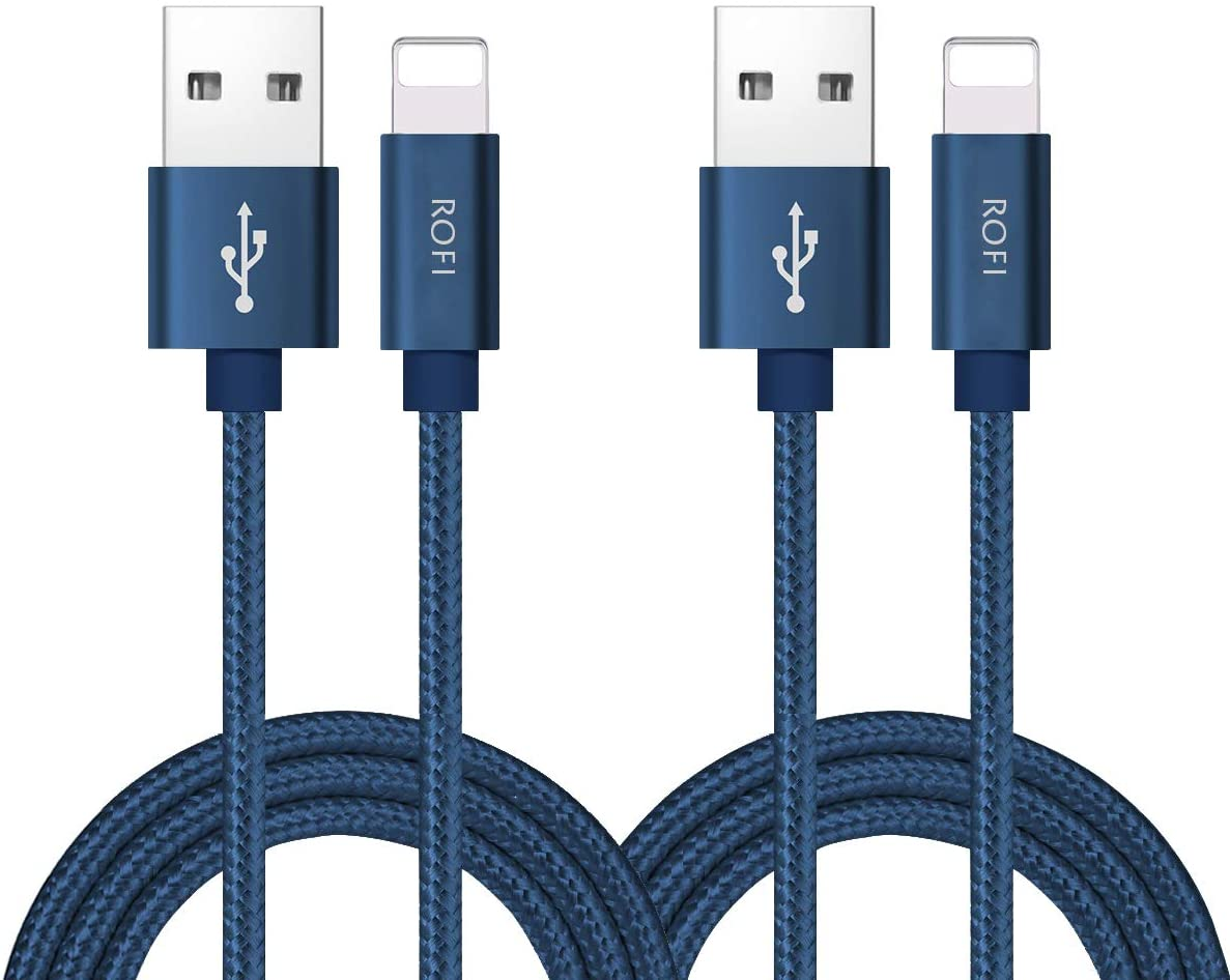 RoFI Compatible Phone Cable, [2Pack] 0.6M Nylon Braided Fast Charging USB Cord Replcement for Phone X 8 8 Plus 7 7 Plus 6s 6s Plus 6 6 Plus 5 5S 5C SE Pad Air Mini and More (2 Pack Dark Blue, 2 FT)