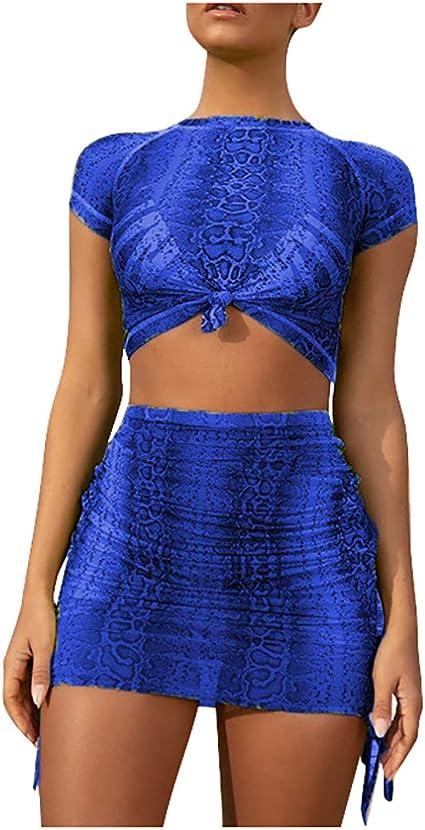 Women Snakeskin Pattern 2 Piece Bodycon Crop Top Skirt Set Bandage Dress UK