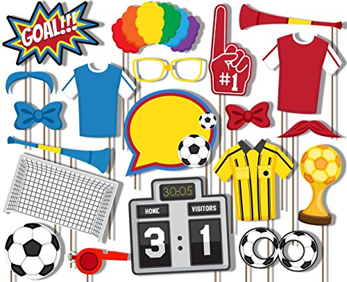 Soccer Photo Booth Props Kit - 20 Pack Party Camera Props Fully Assembled