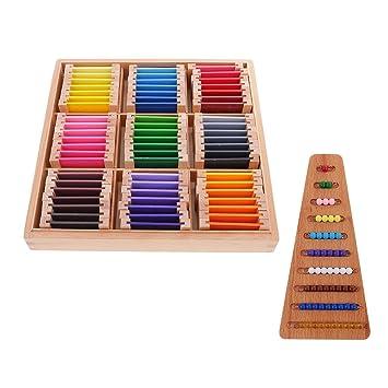 FITYLE Caja de Aprendizaje Sensorial Montessori con Piezas de Madera de Colores Kids + Cuentas Matemátias