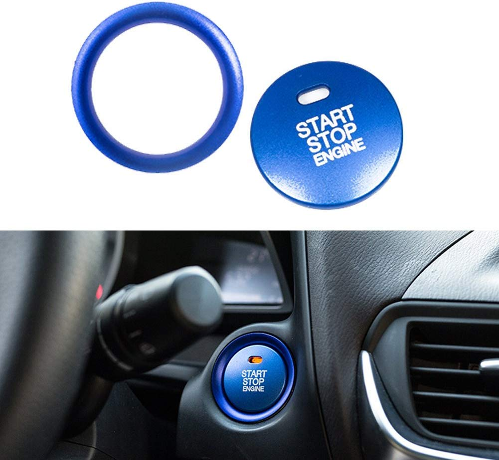 Aizfa Aluminum Keyless Engine Push Start Stop Button plus Surrounding Decoration Ring for Mazda 3 6 Axela ATENZA CX-3 CX-5 CX-9 MX-5 blue