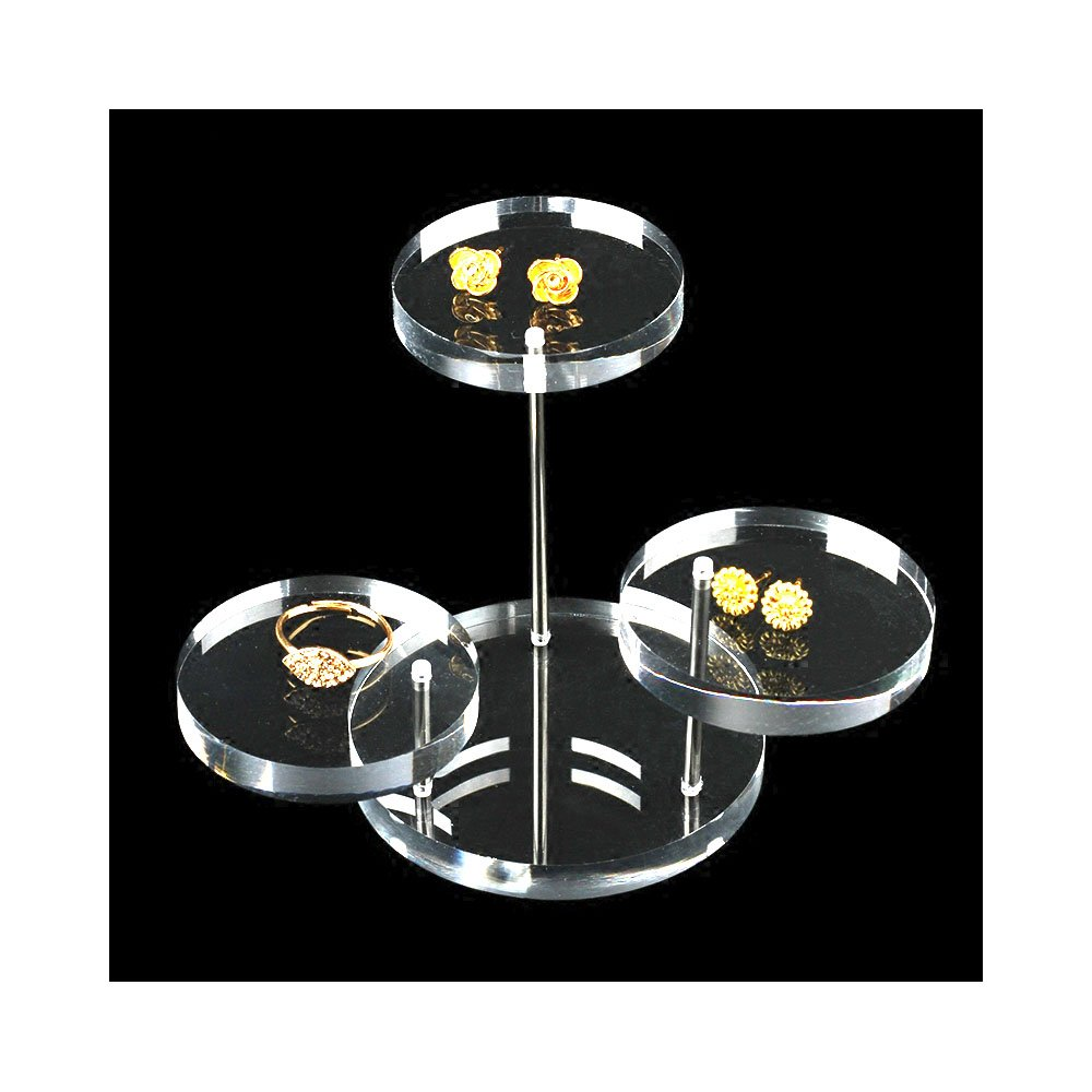 Mini Acrylic Display Stand Tower Tray 3 Tier Turnable Multi Layer Fine Exhibition Clear Photo Store Shows Fair (Small)