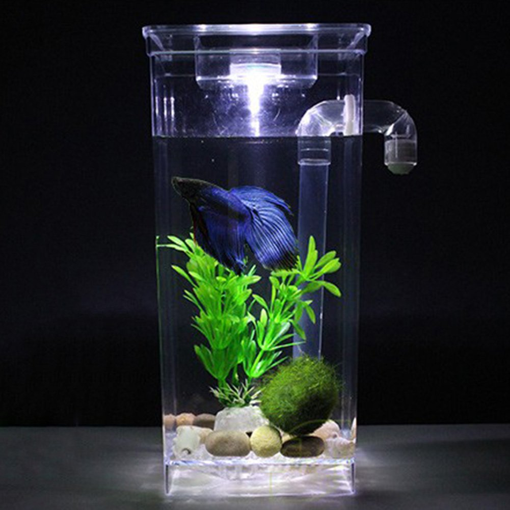 Zantec Pecera decorativa de cristal transparente Uno mismo que limpia el tanque de peces plástico el acuario de escritorio Betta Fishbowl para la decoración ...