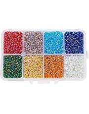 Pandahall 1 Box 12/0 Glass Seed Beads Transparent Colours Rainbow DIY Loose Spacer Mini Glass Seed Beads, 2mm