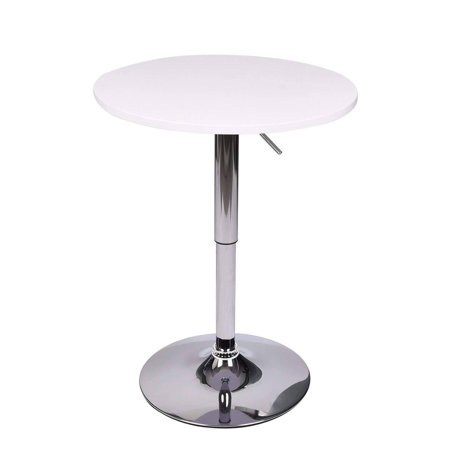 Morden Round Bar Tables - MDF Wood Top Table Chrome Base Pub Table - Gas Lift Height Adjustable - 360 Degree Swivel - Bistro Indoor Dinning Room Outdoor (White)