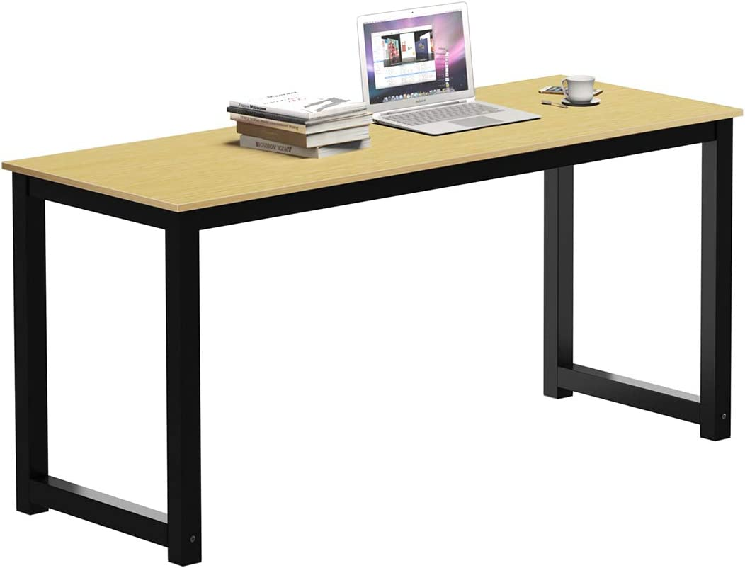 SAMTRA 55 inch Simple Wood Desktop Computer Desk for Bedroom Home Office Modern Study Writing Tables for Writers or Student, Oak