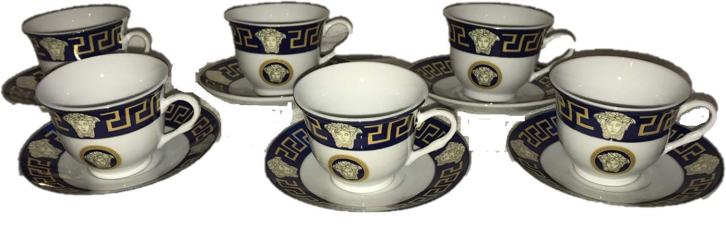 Inspired By Versache Greekk Key 12 Piece Porcelain Espresso Cup & Saucer- Service for 6 Person Gift Boxed-Navy SMCS D1437-12