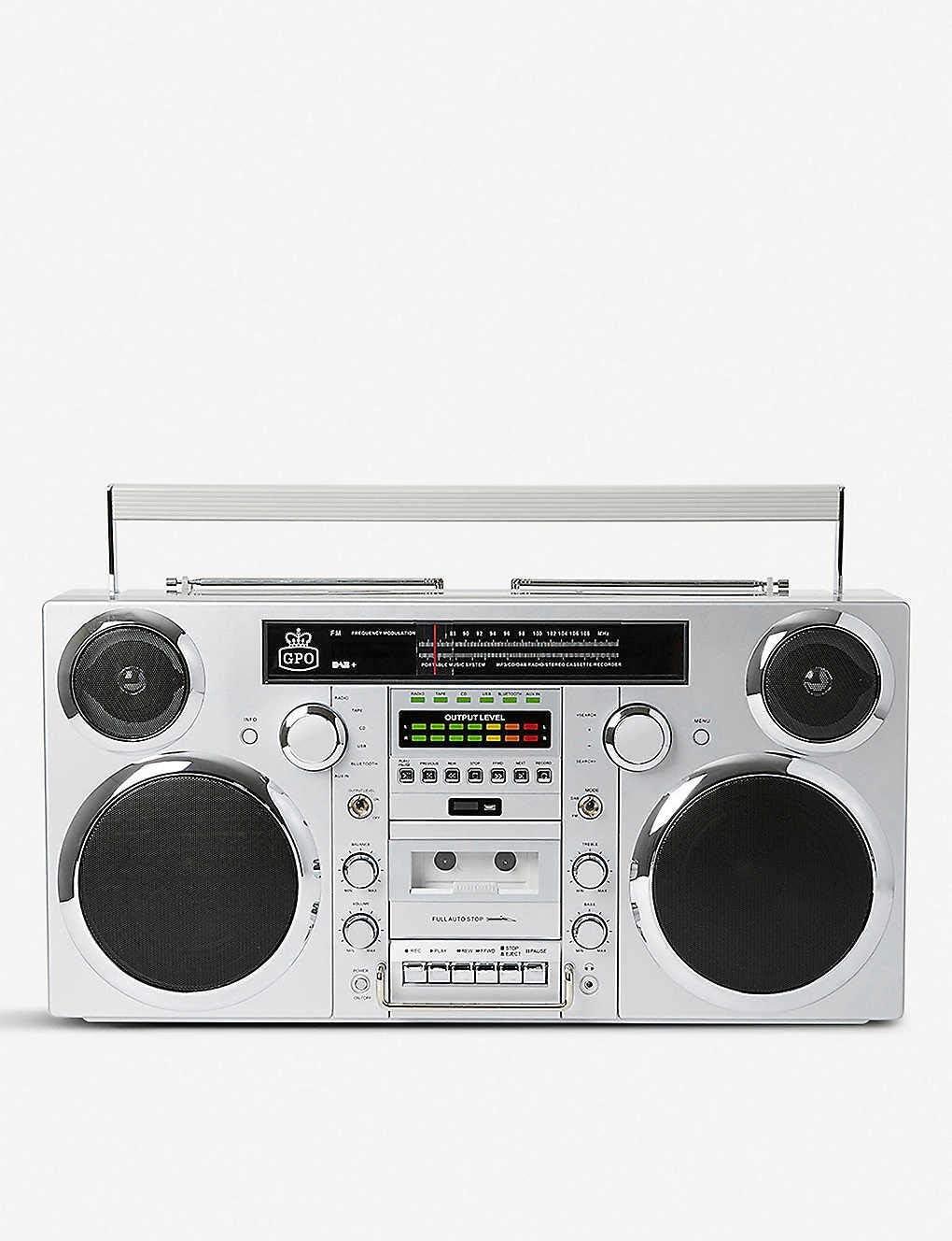 GPO Brooklyn 1980S-Style Portable Boombox - CD Player, Cassette Player, FM & DAB+ Radio, USB, Wireless Bluetooth Speaker - Silver