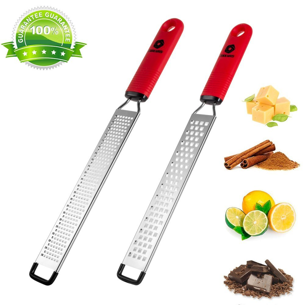 2 Pack Cheese Grater Citrus Lemon Zester, COOLWAS Parmesan Cheese Ginger Garlic Nutmeg Chocolate Vegetables Fruits Long Handled Grater Zester Razor-Sharp Stainless Steel Blade - Dishwasher Safe