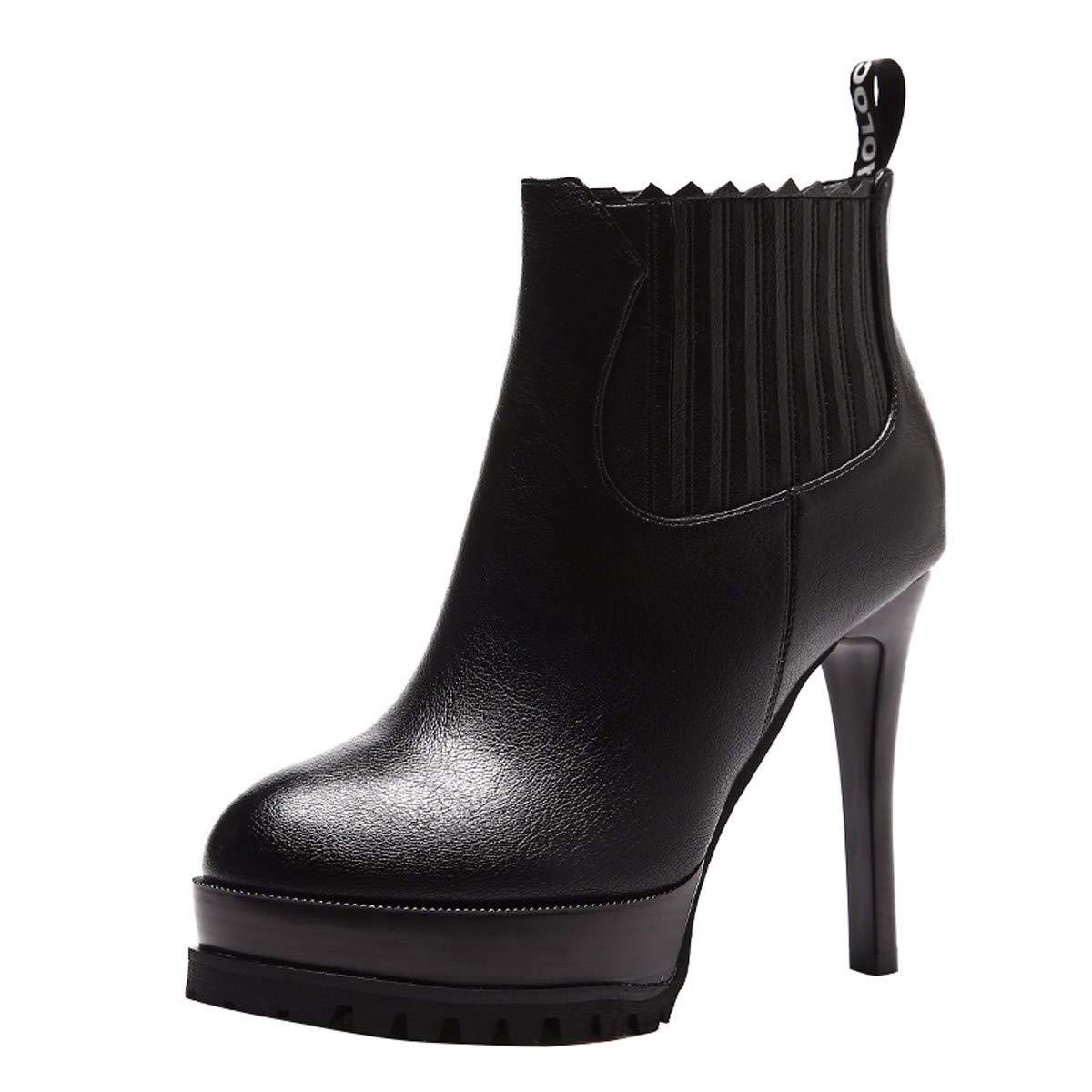 HBDLH Damenschuhe Schuhe Heel 12 cm Elastische Gürtel Einfache Martin Stiefel Fein Hacken Wasserdichte Plattform Runden Kopf Baumwolle Schuhe Stiefel 100.