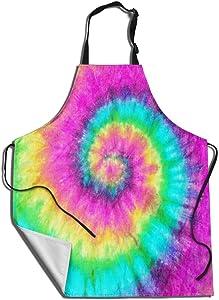 Colorful Tie Dye - Unisex Cooking Apron - Kitchen Grilling Apron for Baking/BBQ Men Women - Waterproof Dustproof Garden Apron 31.5X27.5 Inch
