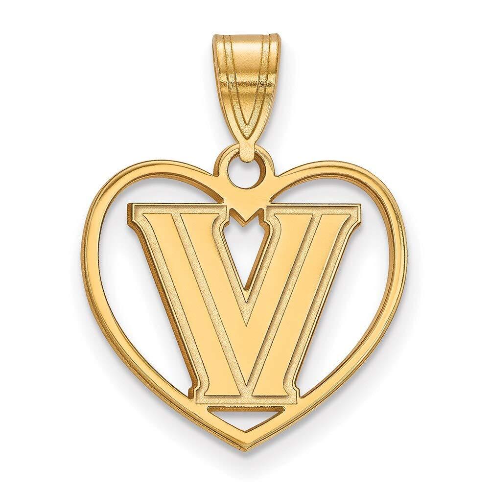 Lex /& Lu LogoArt Sterling Silver w//GP Villanova University Pendant in Heart