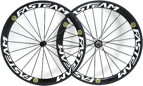 FASTEAM - Ruedas para Bicicleta de Carretera (Fibra de Carbono ...
