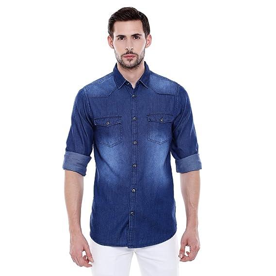 6fc70be8a64 Dennis Lingo Men s Plain Slim Fit Casual Shirt (C501 Dark Blue Small)
