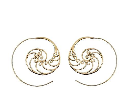 49cab95535374 Amazon.com: Brass Earrings - Tribal Spiral Earrings - Brass Jewelry ...