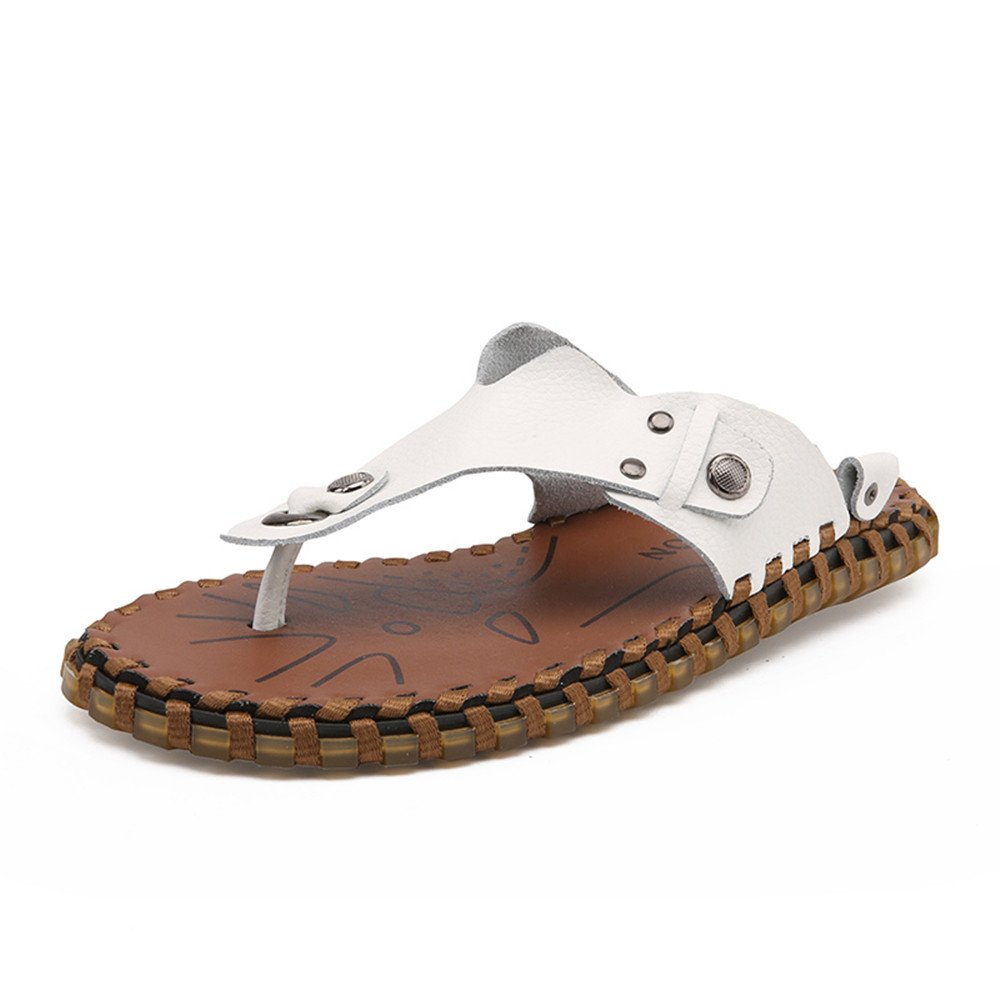 Chancletas para Hombres Zapatillas de Playa de Cuero Genuino Sandalias Planas Suaves Antideslizantes Ocasionales 40 EU|Blanco