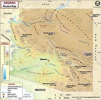 Amazoncom Arizona Physical Map 36 W x 3577 H Office Products