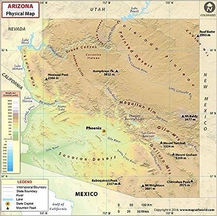 Amazon.com : Arizona Physical Map (36\