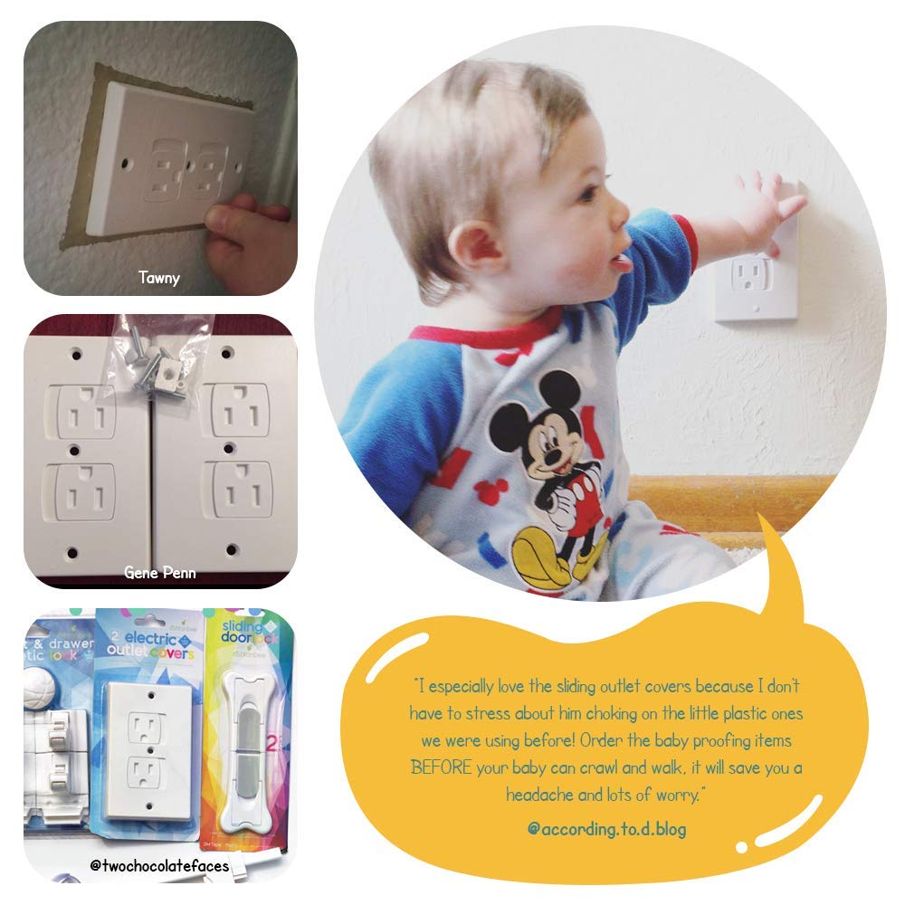Child Safety Electrical Outlet Covers for Baby Proofing Set of 2, White Better than Plugs Best Childproofing Self Closing BPA Free Wall Socket Plate