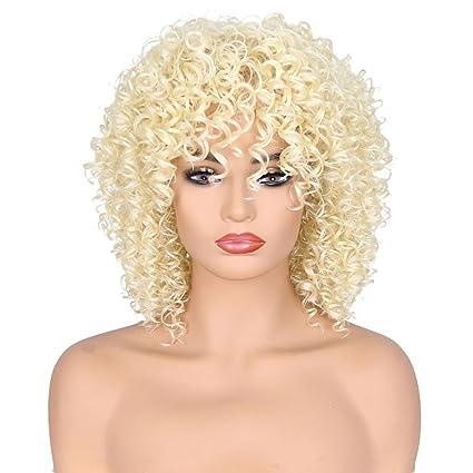 OHQ Peluca Mujeres Pelucas sintéticas del pelo rizado Peluca rizada corta del negro del jet del