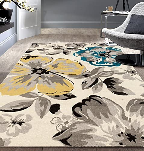 Modern Floral Area Rugs 5 X 7 Cream