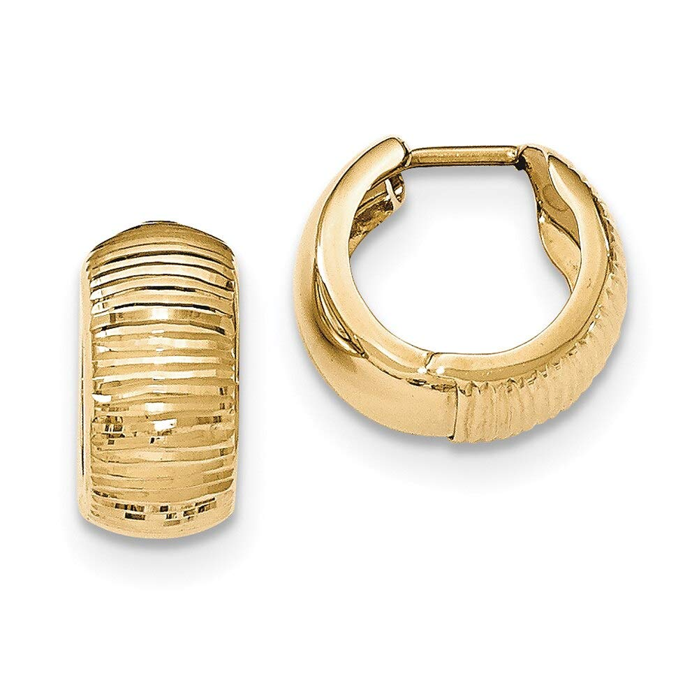 Lex /& Lu 14k Yellow Gold Textured and Polished Hinged Hoop Earrings LAL82253