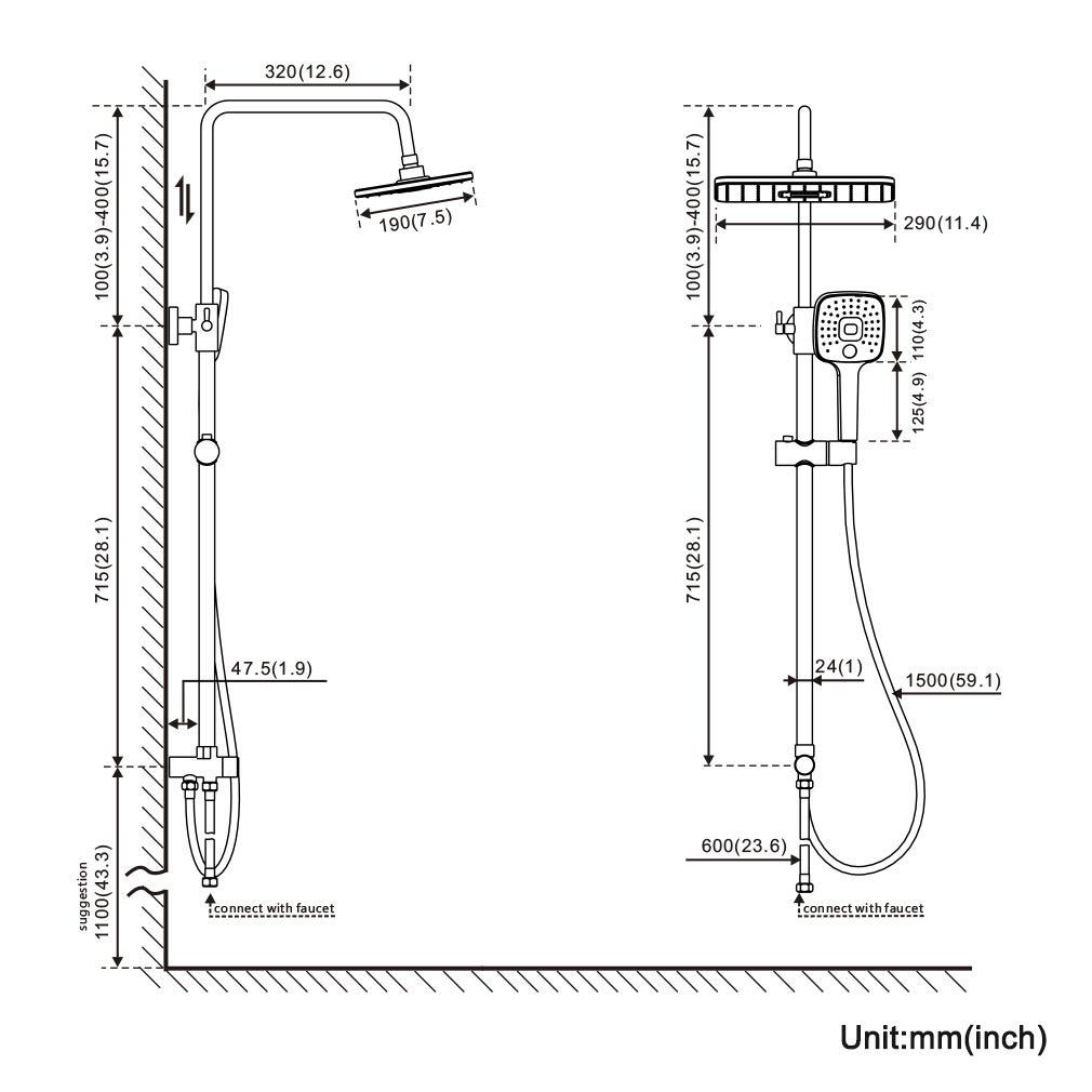 BONADE Columna de Ducha Termost/ática 38 /°C Conjunto de Ducha Cuadrado para Ba/ño con 10 Alcachofa Ducha Lluvia en Acero Inoxidable y 3 Tipos Ducha de Mano y Barra Altura Ajustable