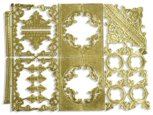 Kunze Dresden Embellishments Frames Corners Assortment, - Gold Frames Scrapbooking