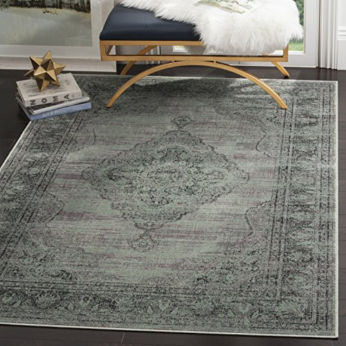 Safavieh Vintage Premium Collection VTG112-110 Transitional Oriental Light Blue Distressed Silky Viscose Square Area Rug (8' Square) - Transitional 8' Square Rug