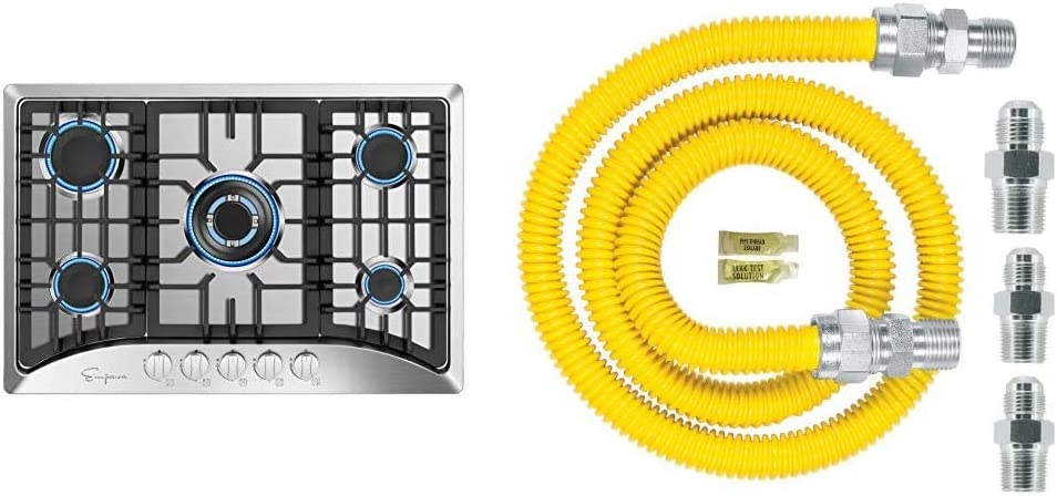 """Empava 30"""" 5 Italy Sabaf Burners Gas Stove Cooktop Stainless Steel EMPV-30GC5B70C, 30 Inch & Dormont Shield (0240892) Gas Appliance Connector Kit, 48 In. Long 5/8 In. Outlet Diameter, Yellow Coated"""
