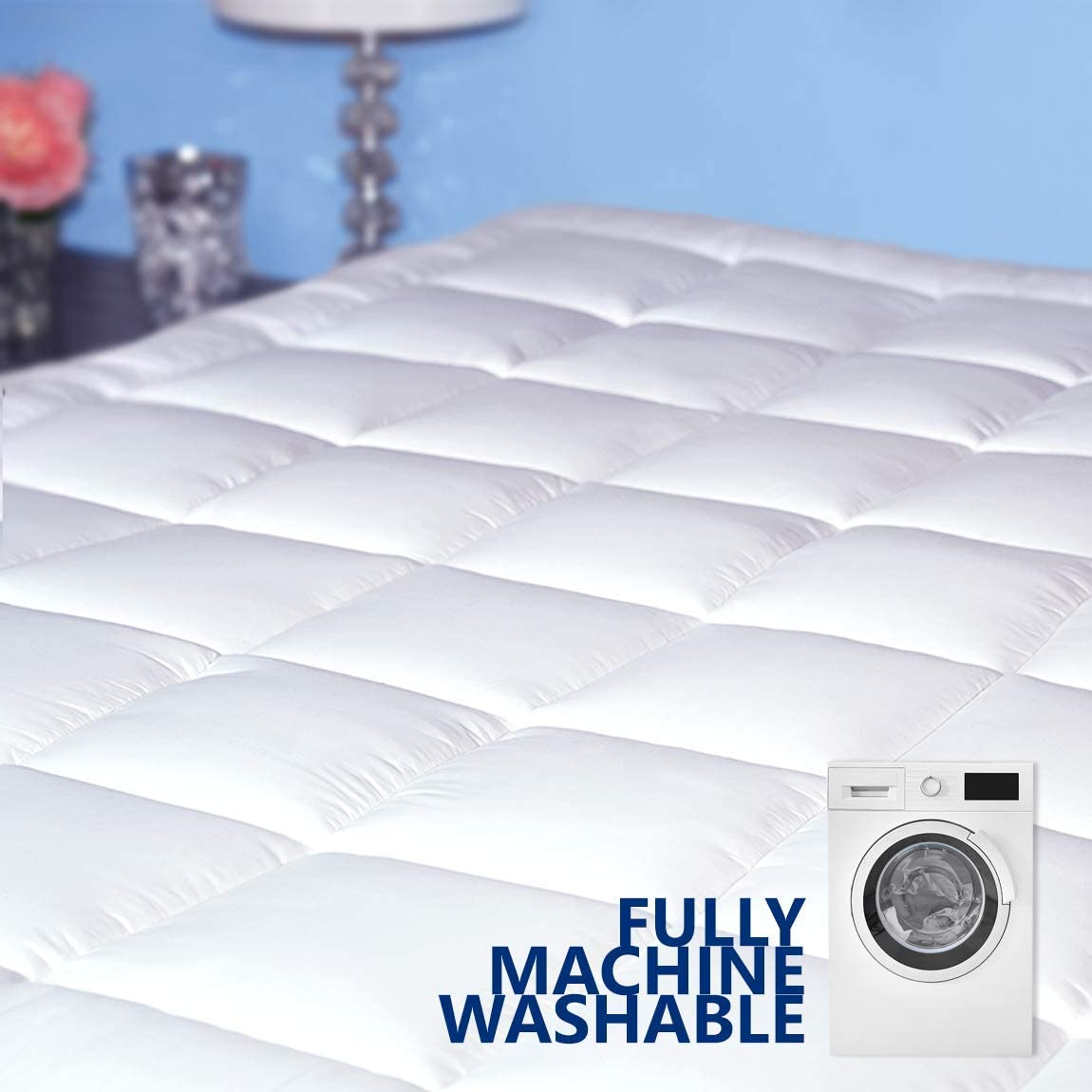Pure Brands Mattress Topper and Pad Cover, Extra Thick | Luxury Down Alternative Pillow Top Cooling Bed Topper | Ultra Plush and Hypoallergenic Mattress Protector | 18 Inch Deep Pocket | Full Size: Home & Kitchen