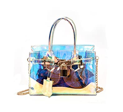 7ac96a2cbd Women s Transparent Messenger Shoulder Bag Crossbody Bag Clear Handbag Tote  (Small Size)
