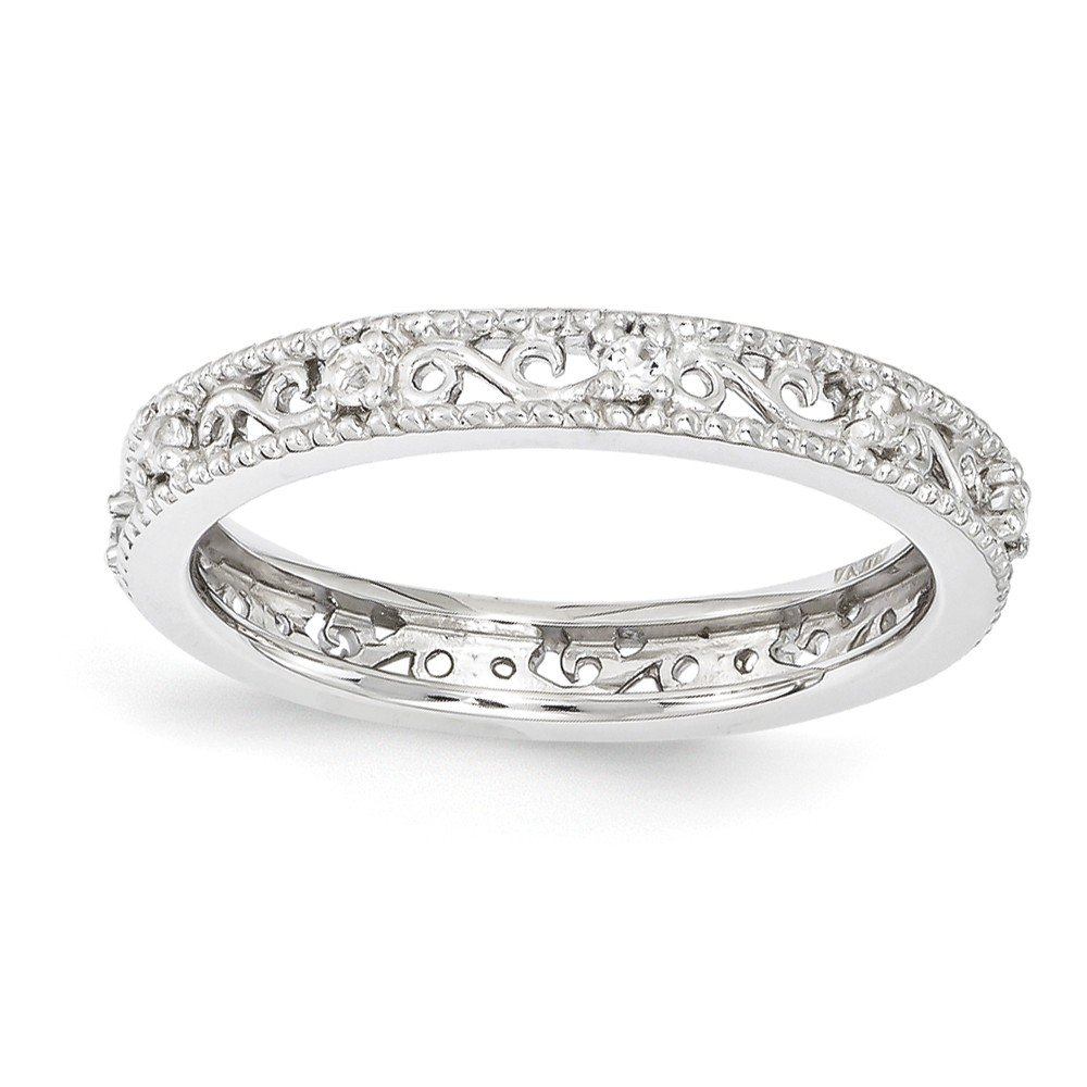 Top 10 Jewelry Gift Sterling Silver Stackable Expressions White Topaz Ring