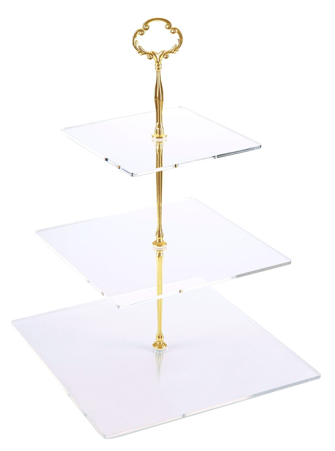 Jusalpha 3 Tier Strong Acrylic Square Cupcake Stand, Dessert Display Tower (Gold Version 2, 1) 3SG-V2